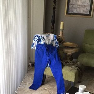 Pants - ROYAL BLUE JEGGINGS MOTO